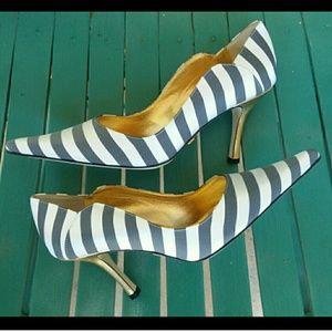 Nicole Miller Striped Satin Pump w/ Gold Stiletto